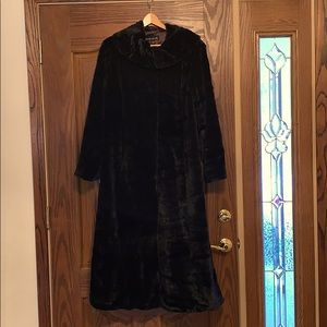 Pamela McCoy lined full length black faux fur coat